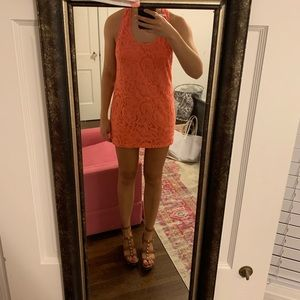 Show me your Mumu orange eyelet dress